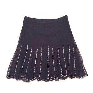 Express Beaded Sparkle Skater Scalloped Mini Skirt